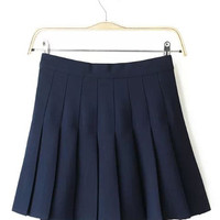 Navy Blue Pleated Mini Skirt