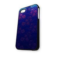 Blue Red Purple Flowers Pattern iPhone 4/4S Case