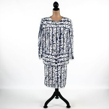 70s 80s Long Sleeve Dress 2 Piece Blouson Top and Skirt Midi Blue White Abstract Dress Drop Waist Plus Size Vintage Clothing Womens Dresses
