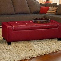 """Furnistar Red Bonded Leather Tufted Storage Ottoman Footstool 50.5x19.5"""""""