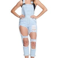 Women's Holey Ripped Denim Overalls