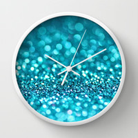 turquoise glitter (photograph of glitter) Wall Clock by Sylvia Cook Photography