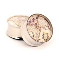 Antique Map Picture Plugs gauges - 00g, 7/16, 1/2, 9/16, 5/8, 3/4, 7/8, 1 inch STYLE 2