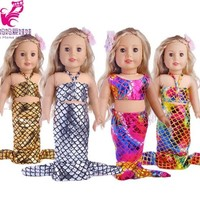 """Doll Clothes Set Mermaid dress for 18 inch American girl doll doll for 18"""" doll dress up set accessory"""