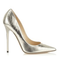 Light Gold Embossed Mirror Leather Pointy Toe Pumps   Anouk   Cruise 15   JIMMY CHOO Shoes