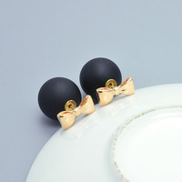 New fashion jewelry 16MM double side pearl bow stud earring mix color gift for women girl E2719