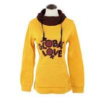 Yellow Letter Print  Drawstring Hooded Long Sleeve Sweater With Pockets