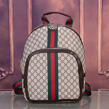 GG Fully printed red and green stripes large-capacity backpack school bag travel bag luggage bag Khaki