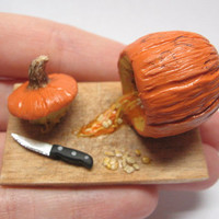 Dollhouse Miniature Pumpkin Carving on cutting board, 1:12 scale, polymer clay