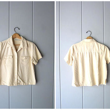 Natural Brushed Silk Crop Top Cropped Pale Yellow Top Minimal Button Up Short Sleeve BOXY Tee 90s Modern Raw Silk Vintage Womens Medium