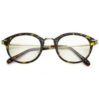 West Small Round Clear Lens Super Retro Glasses