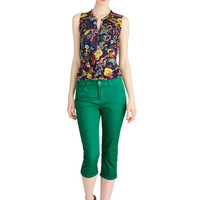 ModCloth Cropped Right on Cue Pants in Kelly Green