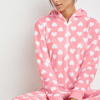Heart Print Plush Jumpsuit