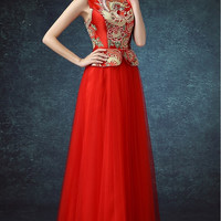 Embroidered Bodice Mesh Chinese Wedding Ballgown