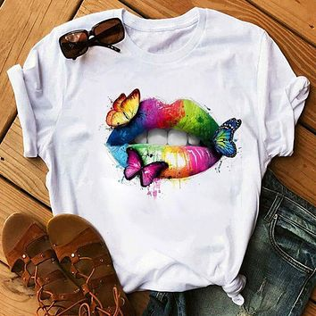 Watercolor lips personality print loose plus size T-shirt sexy ladies