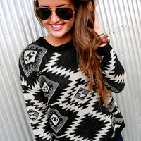 Black + Cream Tribal Sweater