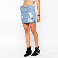 Denim Frayed Mini Skirt