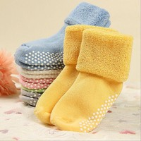 0-3 year old cotton baby socks Autumn and winter thick terry baby socks solid color socks for children kids Antiskid socks