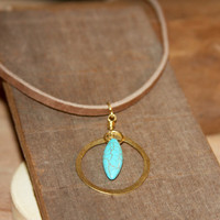 Classy Turquoise Choker. Circle Necklace. Karma Necklace. Boho Leather Necklace. Gifts for Her