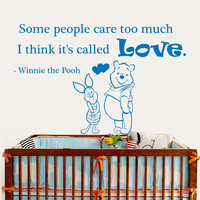 Winnie The Pooh Wall Decals Love Quote Some People Care Too Much Interior Design Vinyl Decal Sticker Art Baby Kids Nursery Room Decor MR343