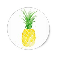 Watercolor Pineapple Clean Classic Round Sticker
