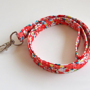 Floral Lanyard / Poppies / Poppy Keychain / Poppies / Key Lanyard / ID Badge Holder / Poppy Flowers / Floral Lanyard / Pretty Lanyards