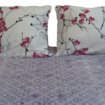 DaDa Bedding Floral Cotton Fitted Sheet Set King 3 Pieces