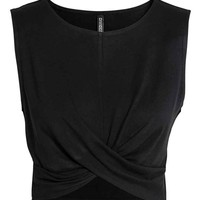 Draped jersey top - Black - Ladies | H&M GB