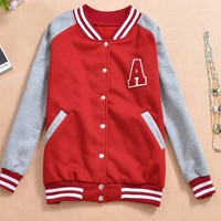 Womens Varsity Letter A Baseball Jacket Red Grey