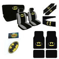 A set of 16 Piece Automotive Gift Set: 2 Lowback Seat Covers, 1 Bench Cover, 1 Wheel Cover, 2 Shoulder Pads, 1 Air Freshener, 2 front carpet floor mats, and 2 rear floormats. - Batman