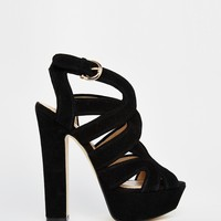 River Island Chunky Cut Out Block Heel Sandals at asos.com