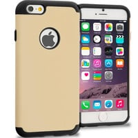 Black / Golden Hybrid Slim Hard Soft Rubber Impact Protector Case Cover for Apple iPhone 6 6S (4.7)