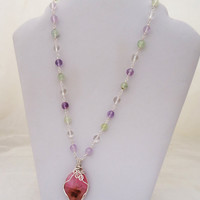 Rose Quartz Wire Wrapped Pendant, Gemstone Necklace, Pink Necklace, UK Seller
