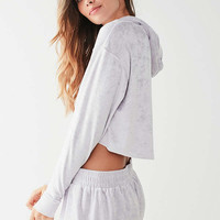 Out From Under Velvet Cropped Hoodie Sweatshirt | Urban Outfitters