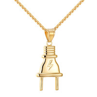 Flash Switch Plug Pendant Lightning 14k Gold On Stainless Steel Chain Iced Out