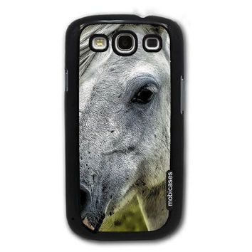 White Horse Pony Face - Protective Designer BLACK Case - Fits Samsung Galaxy S3 SIII i9300
