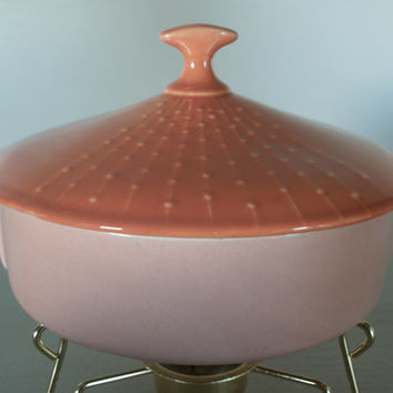1950s GENIE Tent Top COVERED CASSEROLE Dish - Ceramic Bakeware Oven to Table Vintage Serving Bowl & Warmer in Pastel Peach and Soft Orange