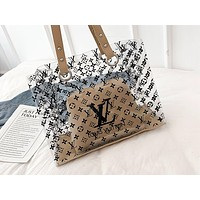 ADIDAS x NIKE x LV fashion hot seller two-piece one-shoulder bag with transparent print for women LV Khaki