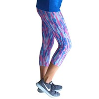 Blue Brushstroke Yoga Leggings