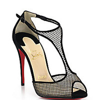 Christian Louboutin - Suede & Mesh Sandals - Saks Fifth Avenue Mobile