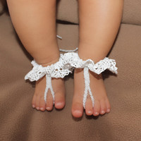 Unique White Crochet Baby Barefoot Sandals