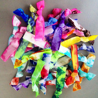 20 Tie Dye Hair Ties - Ponytail Holders by Elastic Hair Bandz on by ElasticHairBandz