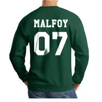 Malfoy 07 on back Draco Malfoy Harry Potter Unisex Crewneck Sweatshirt