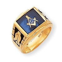 Men's Created Blue Spinel Masonic Ring