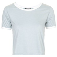 Contrast Trim Cropped Tee - Topshop