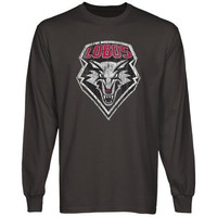 New Mexico Lobos Distressed Primary Long Sleeve T-Shirt - Charcoal