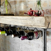 """Industrial Reclaimed Wine Bar and Rack (150 year plus """"old growth"""" wood) free shipping 48""""  l x 11.5"""" w x 35"""" tall"""