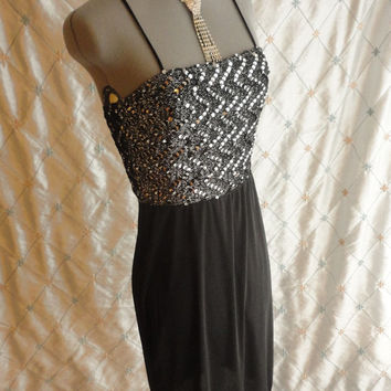 ON SALE 70s Dress // Vintage 1970s Black and Silver Dress with Black and Silver Sequins and Cool Crisscross Back from Joseph Magnin Size S t