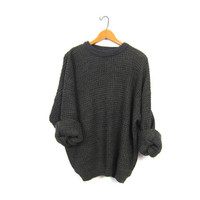 Oversized Slouchy Sweater 90s Chunky Army Green Loose Knit Boyfriend Cozy Knit Blue Preppy Basic Pullover Simple Vintage Size Mens Large