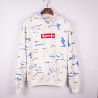 Round-neck Pullover Couple Embroidery Hoodies [8740746188]